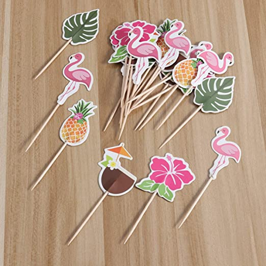 6 Topper auf Picks Flamingo f/ür Party mit Hawaii Aloha Holz Rosa PartyDeco Conf