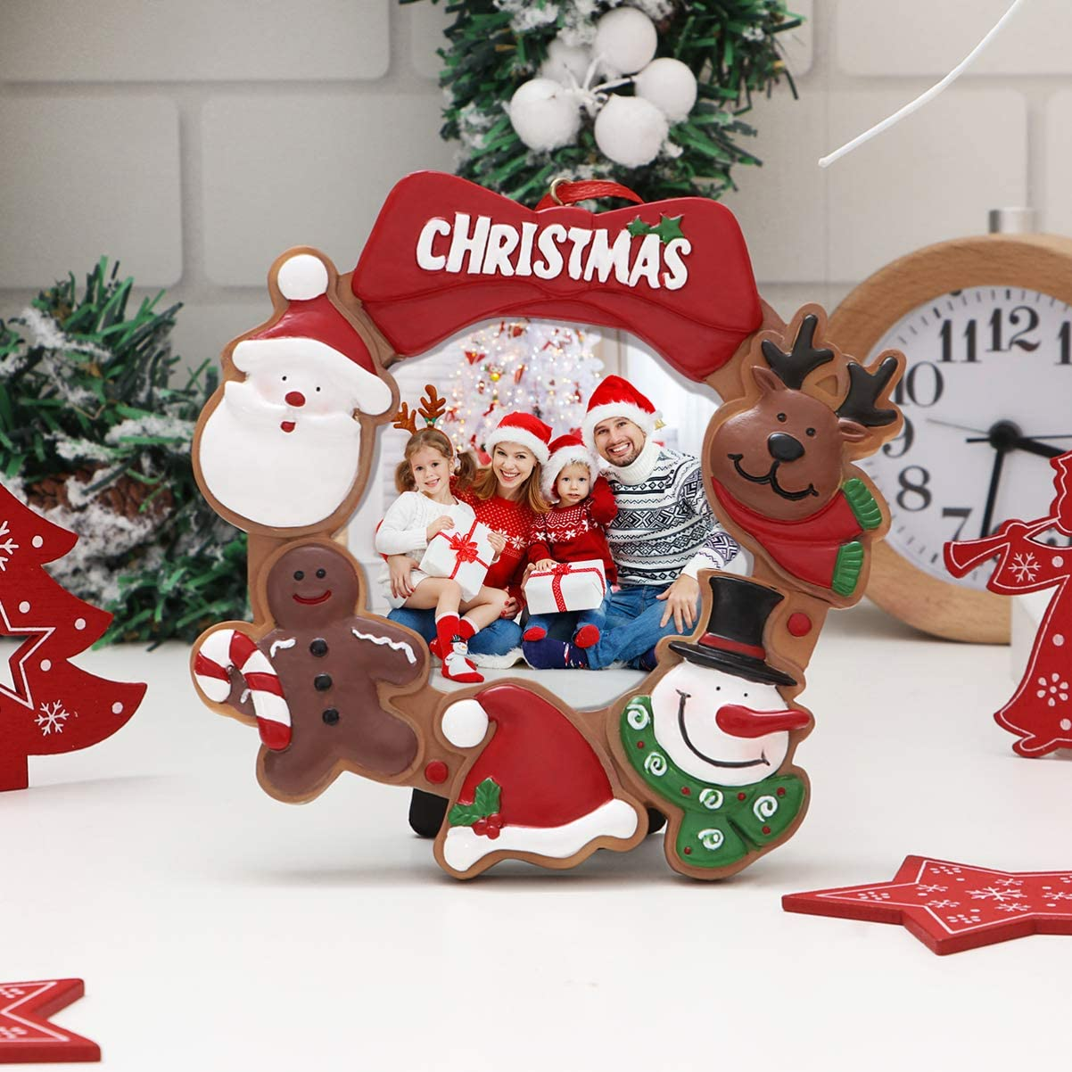 Christmas Photo Frame Ornaments, Resin Picture Frame Xmas Tree Party Decorations Family Picture Keepsake Decor