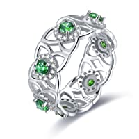 Merthus 925 Sterling Silver Created Emerald Floral Eternity Band Ring for Women