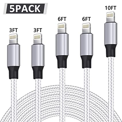 WUYA iPhone Charger, MFi Certified Lightning Cable 5 Pack (3/3/6/6/10FT) Nylon Woven with Metal Connector Compatible iPhone Xs ...