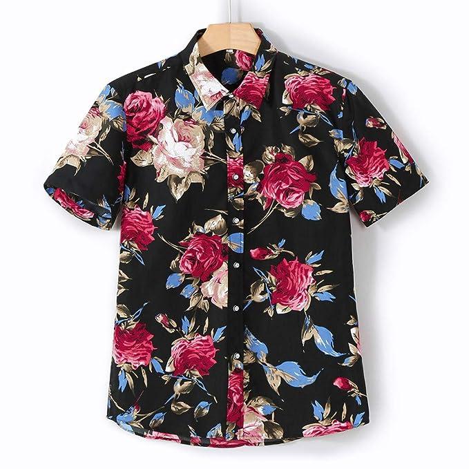 miglior servizio f9306 d0f52 DressLksnf Camicie Stampata da Uomo, Camicia Hawaiana Top ...
