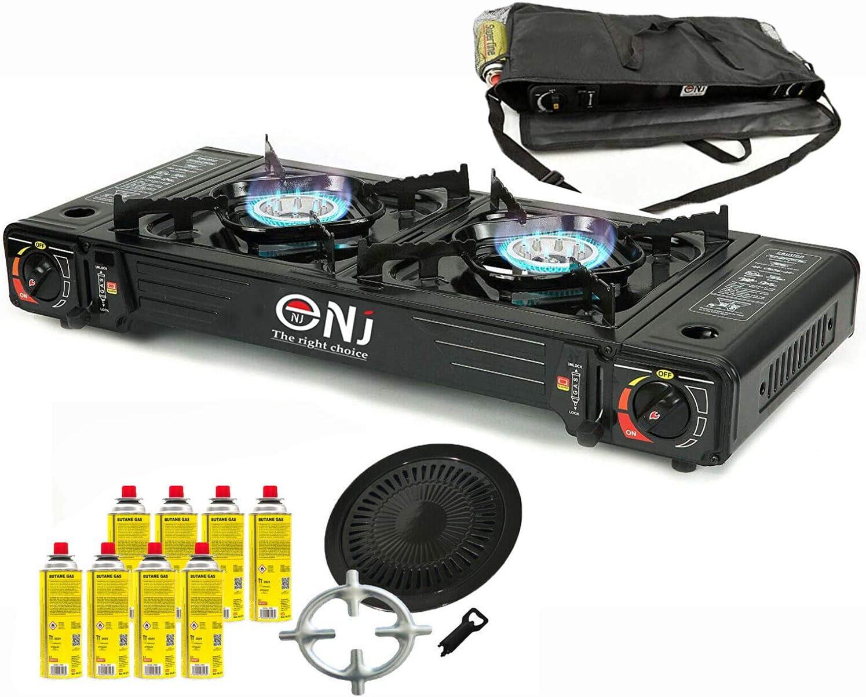 Hornillo de gas doble, 2 fuegos, hornillo de camping de 5 kW, placa de parrilla + 8 cartuchos de gas + cruz de cocina de gas Phönix + bolsa de ...