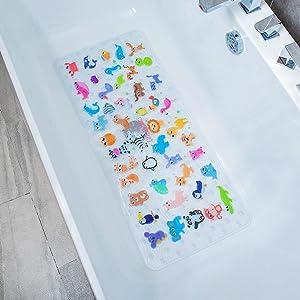 BEEHOMEE Bath Mats for Tub Kids - Large Cartoon Non-Slip Bathroom Bathtub Kid Mat for Baby Toddler Anti-Slip Shower Mats for Floor 35x16,Machine Washable XL Size Bathroom Mats (Zoo)