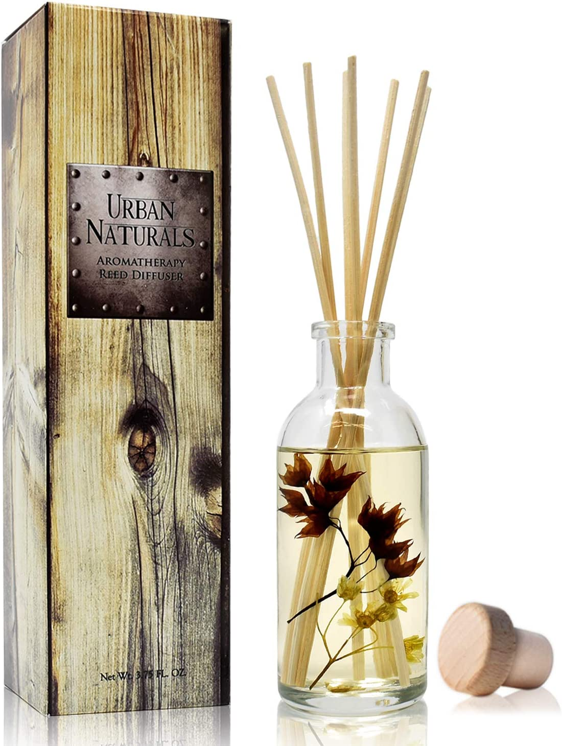 Urban Naturals Vanilla Woods Reed Diffuser Scent Sticks Gift Set | Smoked Vanilla Bean, Tonka Bean, Birchwood & Sandalwood | Light Woodsy Scent Made with Essential Oils & Real Botanical Pieces