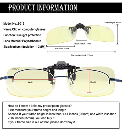 online glasses ordering da1o  Amazoncom: DUCO Optiks Clip on Rimless Ergonomic Advanced Computer Glasses  with Amber Tint Lens 8012: Home Audio & Theater