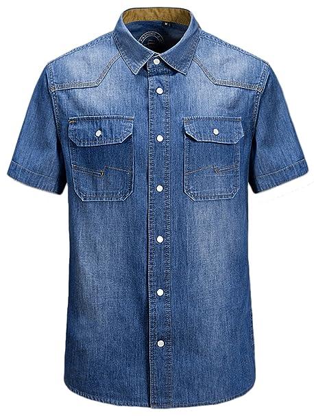 66a3d2aa15 chouyatou Men s Basic Short Sleeve Straight Fit Crystal Snap Denim Shirt  (X-Small