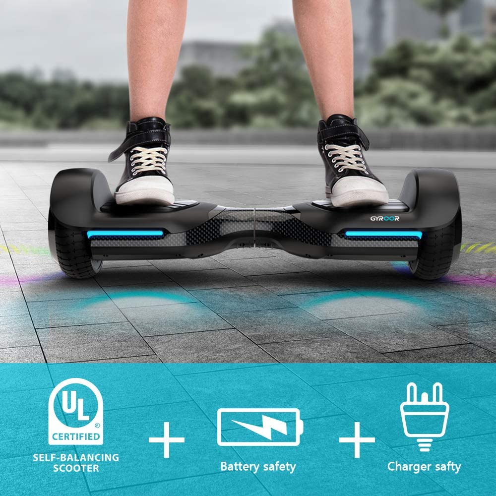 6.5 inch Two-Wheel Hoverboard with UL2272 Certificated Gyroor Swift Hoverboard Self Balancing Hoverboard with Music Speaker LED Lights