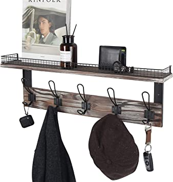 MK513A Bathroom J JACKCUBE DESIGN Rustic Coat Rack Wall Mounted Shelf with 5 Hooks Key Hanger Entryway Kitchen Hallway Bedroom Livingroom Mudroom