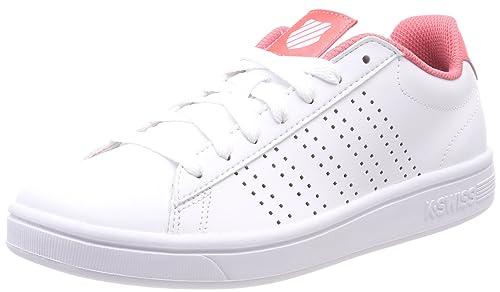 K-Swiss Court Casper, Zapatillas para Mujer, Blanco (White/Sunkist Coral 160), 35.5 EU