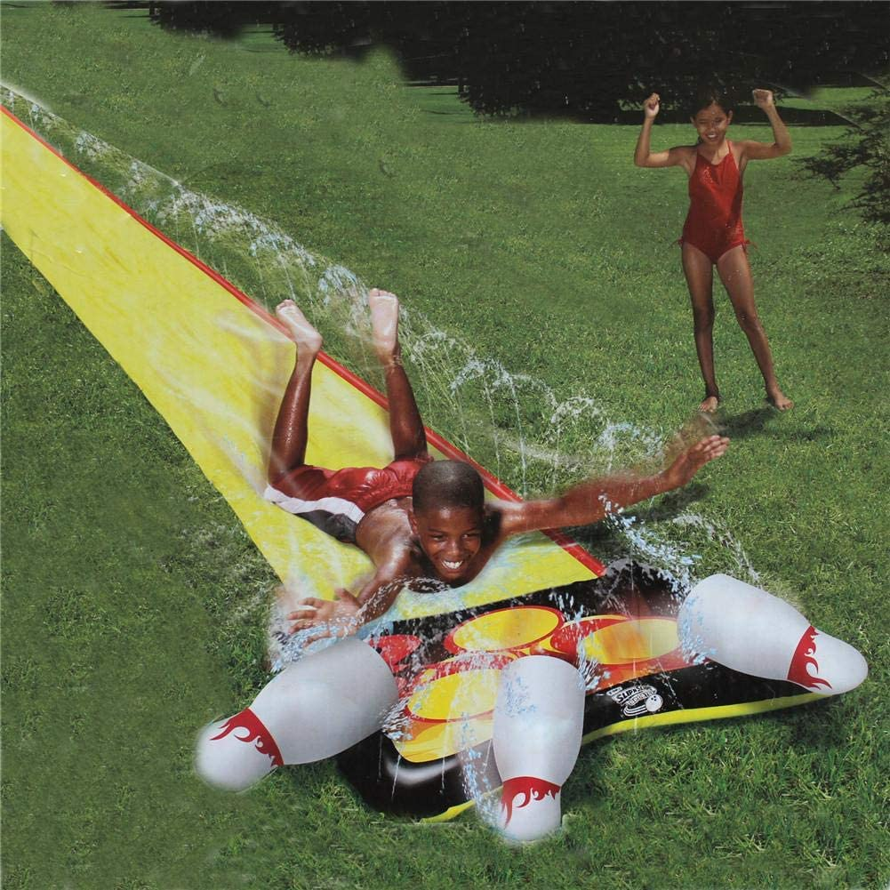 Summer Spray Water Toys Garden Racing Double Water Slides Mat Outdoor Grass Gameb Inflatable Surfboard iFlymisi Backyard Water Slide For Kids Adults
