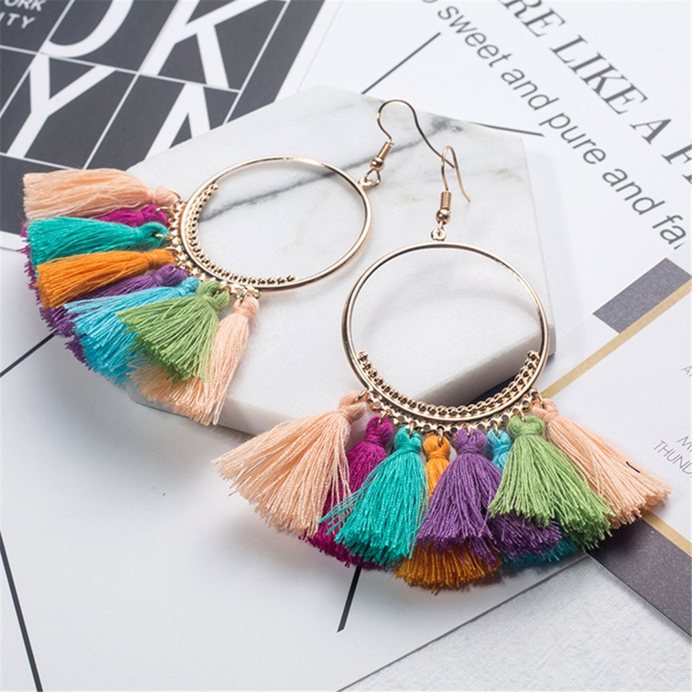 Bohemian Ethnic Fringed Tassel Earrings Women Golden Round Circle Ring Hanging Drop Earrings Jewelry White by DARLING HER (Image #6)