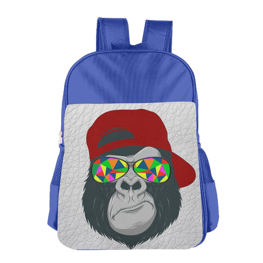 Gorilla With Red Hat And Sunglass Casual Backpacks Teen Boys Book Bags