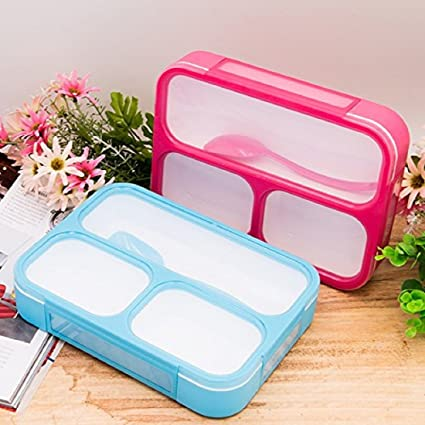 Tuelip Plastic Lunch Box, 500 ml, Pink and Blue