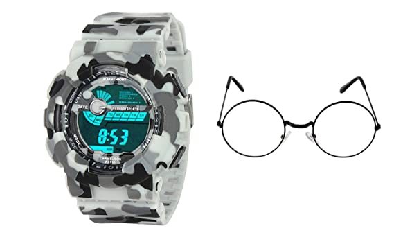 d1b92d46d Buy STUFFY CLUB White Sports Watch Digital with Transparent Round Black  Frame Sunglass Online at Low Prices in India - Amazon.in