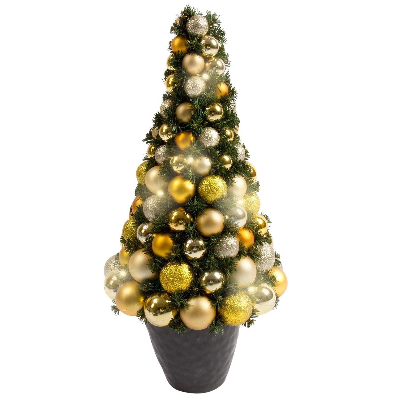 Möbelcreative LED Weihnachtsbaum, beleuchteter Tannenbaum in Gold ...