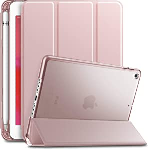 INFILAND iPad Mini 5 2019 Case with Pencil Holder, Ultra Slim Lightweight Stand Case with Translucent Frosted Back Smart Cover for iPad Mini 5th Gen 7.9-inch 2019 Release, Rose-Gold
