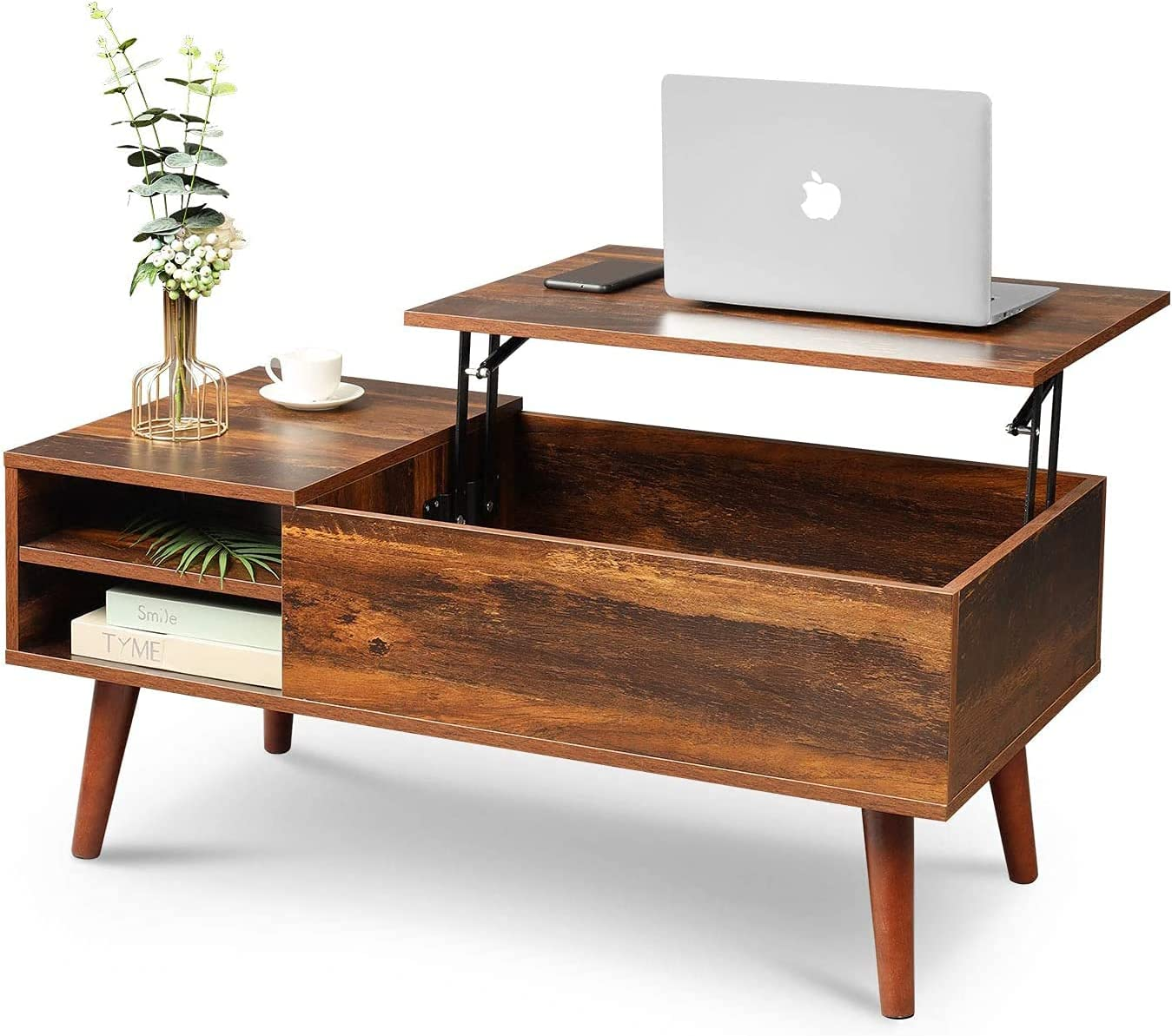WLIVE Wood Lift Top Coffee Table with Hidden Compartment and Adjustable Storage Shelf, Lift Tabletop Dining Table for Home Living Room, Office, Rustic Oak