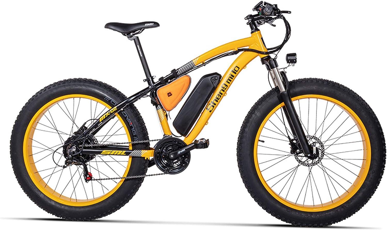 MX02 26インチファットバイク、21スピードマウンテンバイク、48V 17Ah大容量バッテリー、サスペンションフォーク、5レベルペダルアシスト 黄 17Ah + 1予備電池