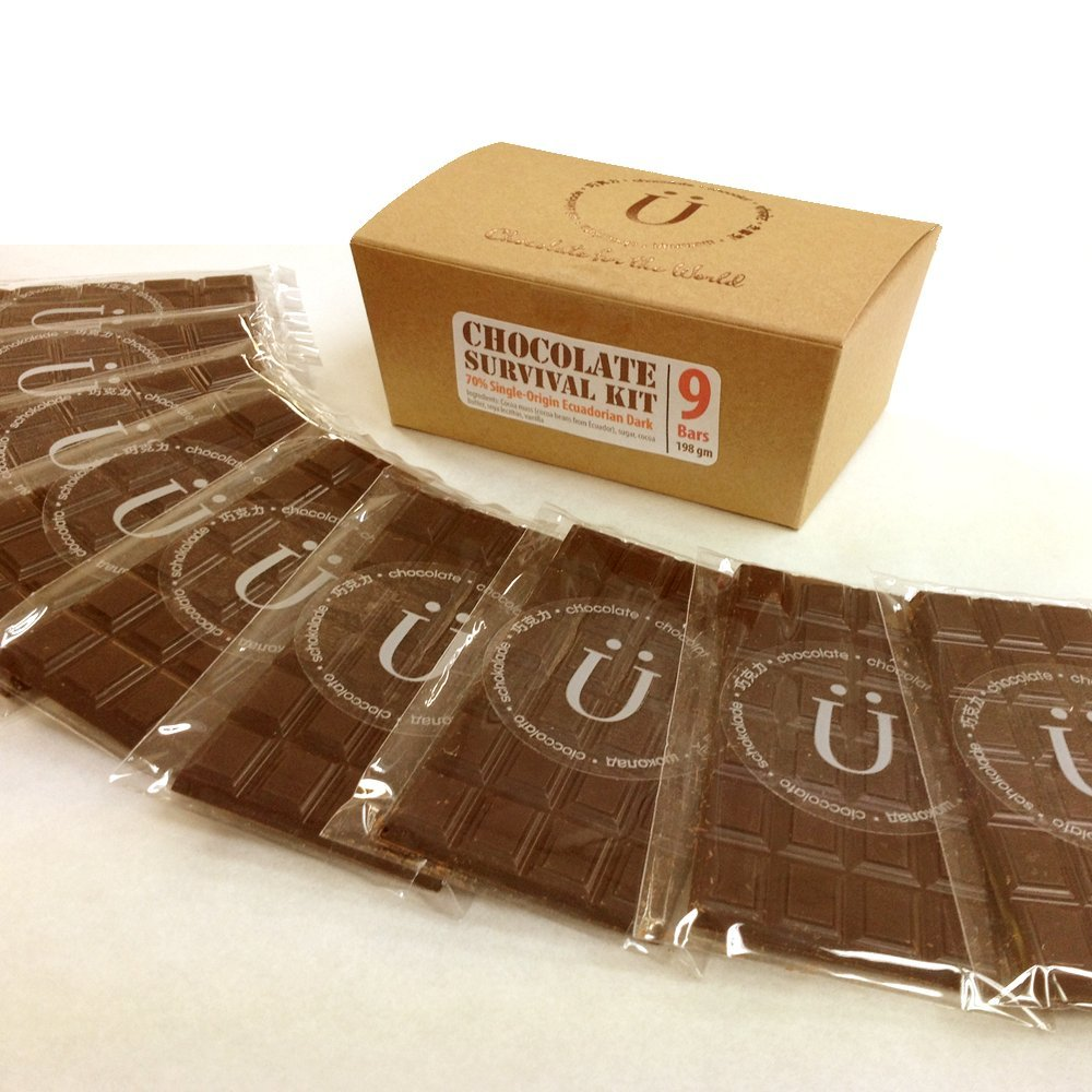Chocolate Survival Kit, 9 Bars - Premium Swiss Dark Chocolate made with 70% Cocoa Single-Origin Ecuadorian Beans