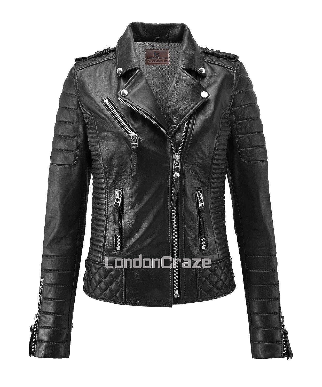 London Craze Women's Leather Jacket Stylish Motorcycle Biker Genuine Lambskin Black