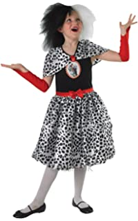 Girls Cruella De Ville Fancy Dress Costume