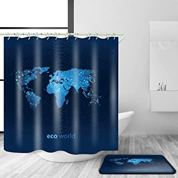 Duschvorhang mit Matte Set Weltkarte Muster Digitaldruck Wasserdicht ...