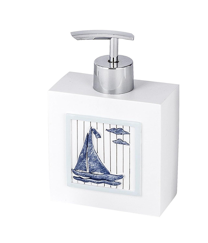 Wenko Nautic 21711100 Nautic Colore: Bianco Dispenser per Sapone in poliresina 10 x 14,7 x 6 cm