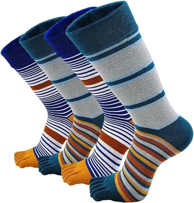 LOFIR Calcetines con Dedos Separados de Algodón para Hombre Calcetines de 5 Dedos, Medias para Deporte Colegios Negocios Calcetines, Talla 38-44, 4 pares: Amazon.es: Ropa y accesorios