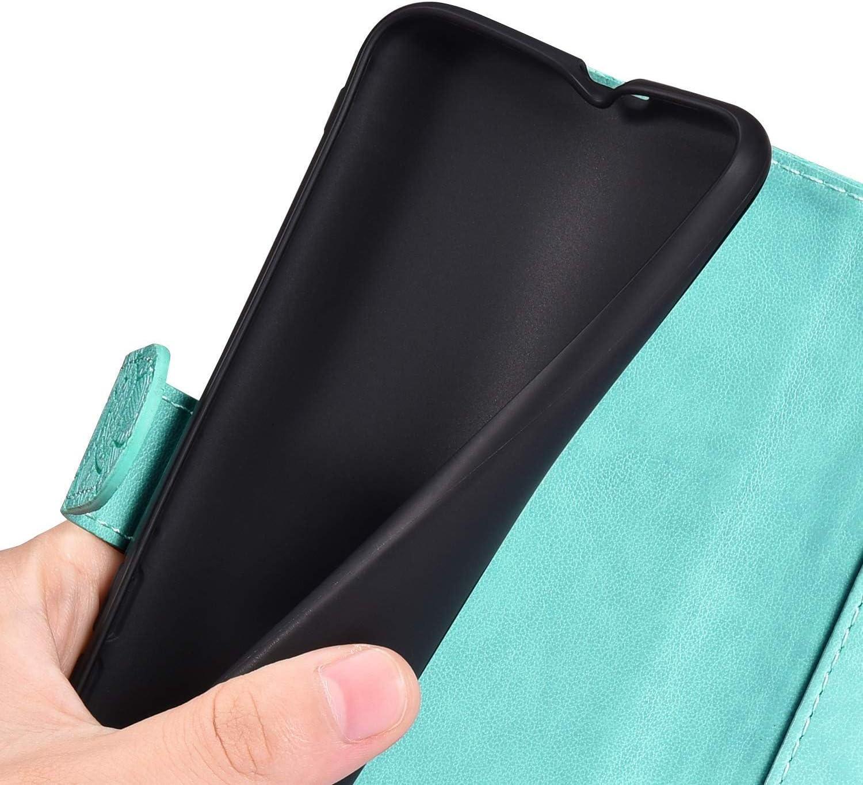 JAWSEU Compatible avec Samsung Galaxy A10 Coque Portefeuille PU /Étui Cuir /à Rabat Pochette Magn/étique Mode Retro Fleur Motif Ultra Mince Stand Leather PU Flip Wallet Case,Vert