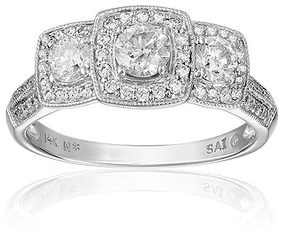14K White Gold Diamond Engagement Ring (1 cttw, H-I Color, I1-I2 ...