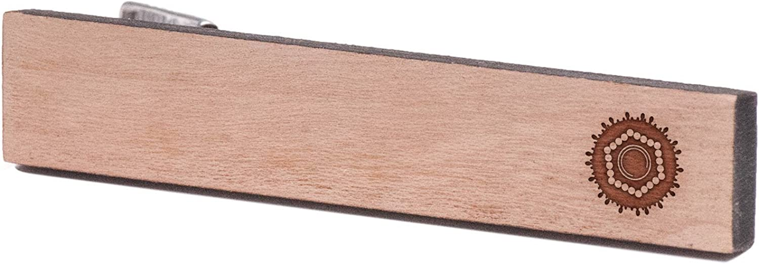 Cherry Wood Tie Bar Engraved in The USA Wooden Accessories Company Wooden Tie Clips with Laser Engraved Hepatitis Design