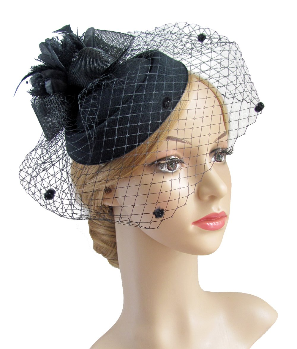 K.CLASSIC Fascinator Hair Clip Pillbox Hat Bowler Feather Flower Veil Wedding Party Hat Tea Hat (black1)