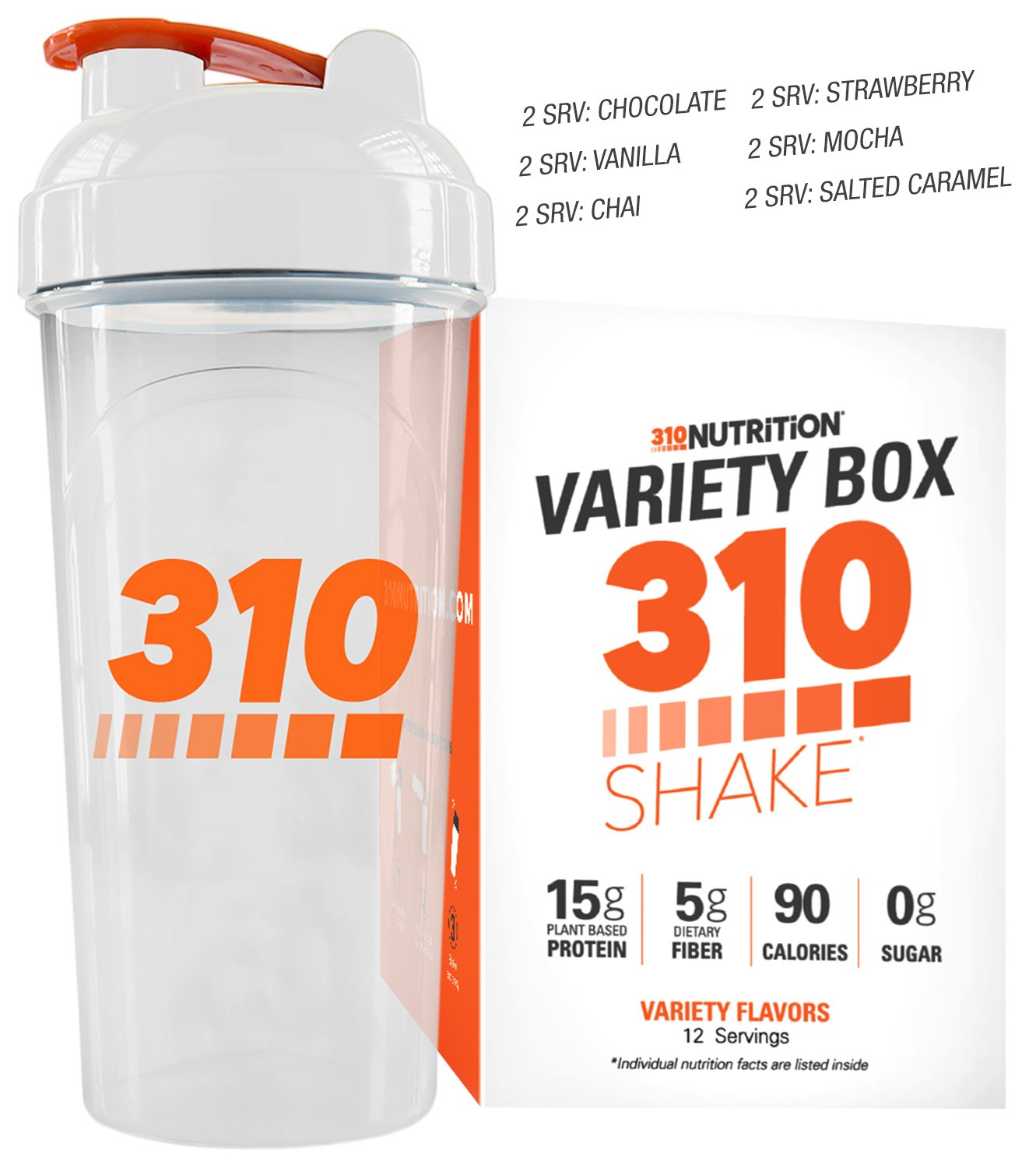 310 Shake Variety Box Includes 310 Shaker - 12 Individual Servings - Find Your Favorite Flavor, Choose From Chocolate, Vanilla, Vanilla Chai, Strawberry, Mocha, and Salted Caramel