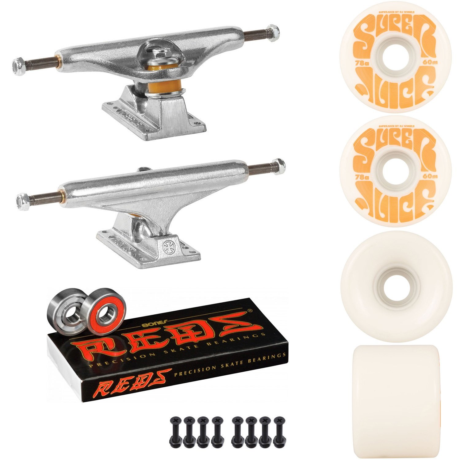 Independentスケートボードキット149 Trucks OJスーパージュース60 mm 78 aホイールホワイトReds B07DHVWCK2