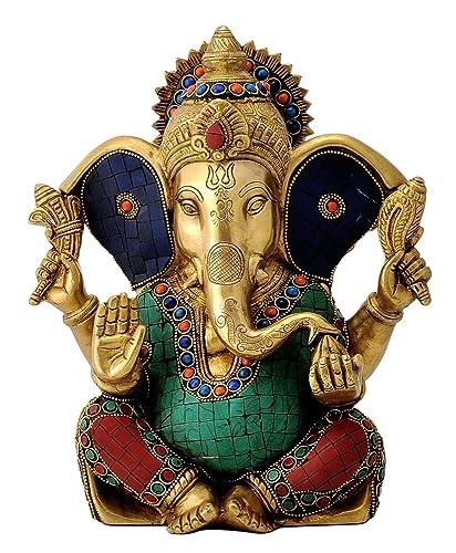 CraftVatika 10.5 Inches Large Ganesh Statue Turquoise Success Sculpture Elephant God Figurine Long Ear Brass Vinayak Ganesha