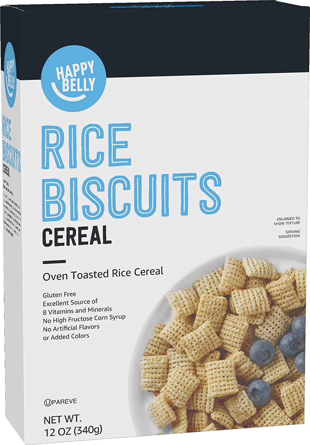 Amazon Brand - Happy Belly Rice Biscuits Cereal, 12 Ounce