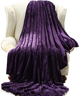 Moonen Flannel Throw and Blanket Luxurious Twin Size Purple Lightweight Plush Microfiber Fleece Comfy All Season Super Soft Cozy Blanket for Bed Couch and Gift Blankets (Purple, W50 x L60)