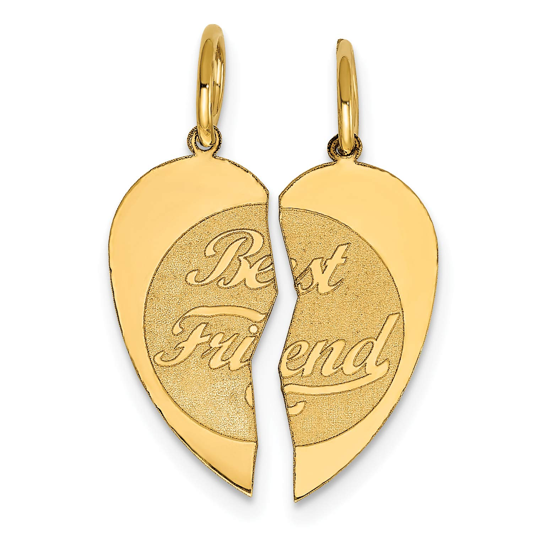 Mireval 14k Yellow Gold 2Pc Best Friend Charm (15 x 22 mm)