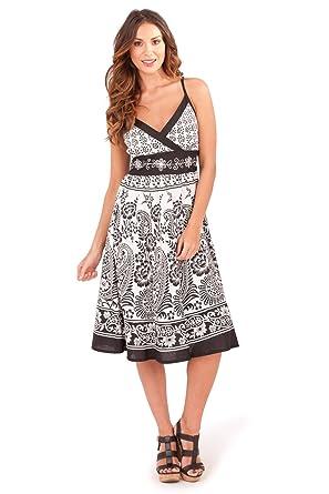 4ea61671c24 Pistachio Womens Patterned Crossover Dresses Ladies V Neck Cotton Summer  Midi  Amazon.co.uk  Clothing