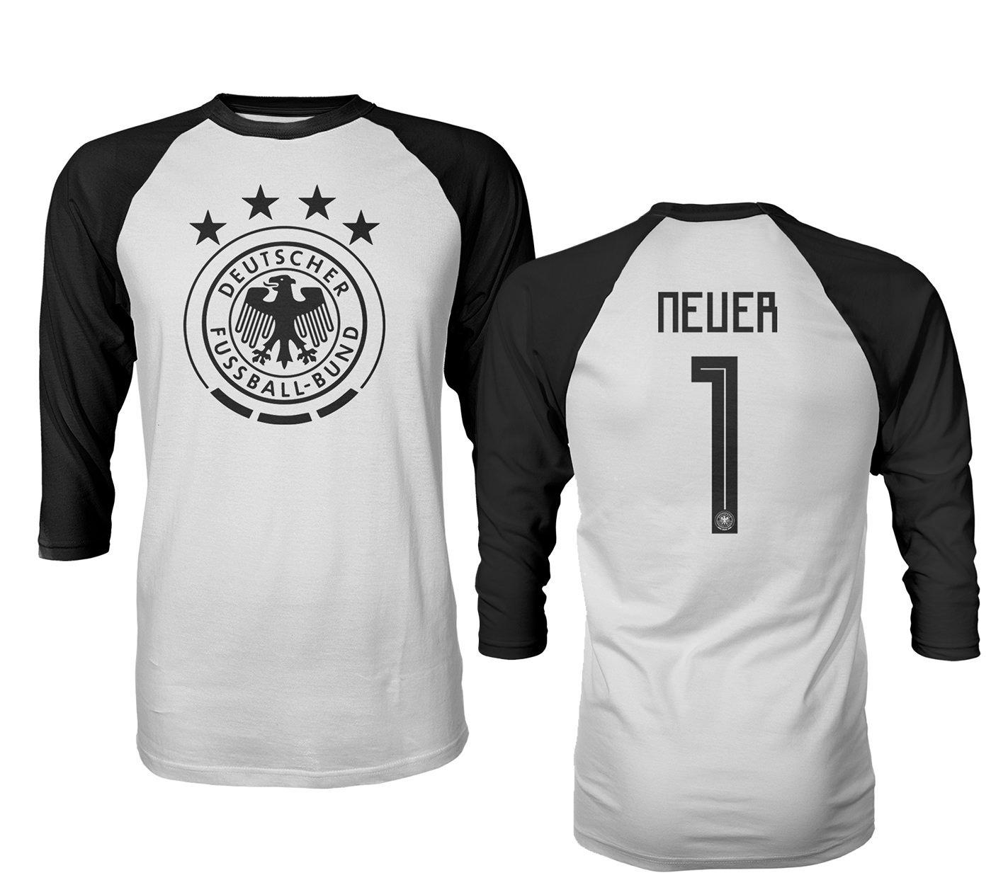 sale retailer f8cb8 a0f89 Tcamp Germany 2018 National Soccer #1 Manuel NEUER World Championship Men's  Quarter Sleeve Raglan T-Shirt