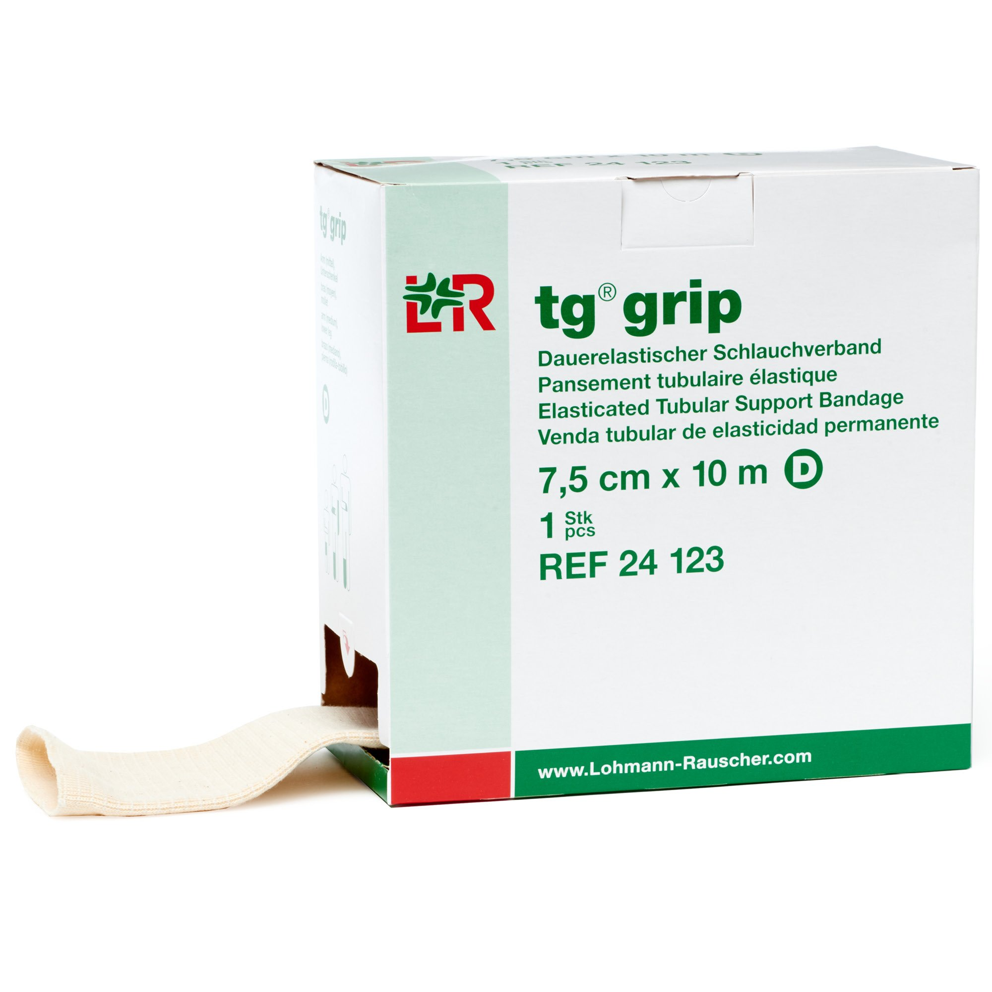 tg Grip Elastic Tubular Compression Bandage, Seamless Tube Stockinette Wrap for Retention, Lymphedema, Swelling, 85% Cotton, Washable & Reusable, Size D by Lohmann&Rauscher