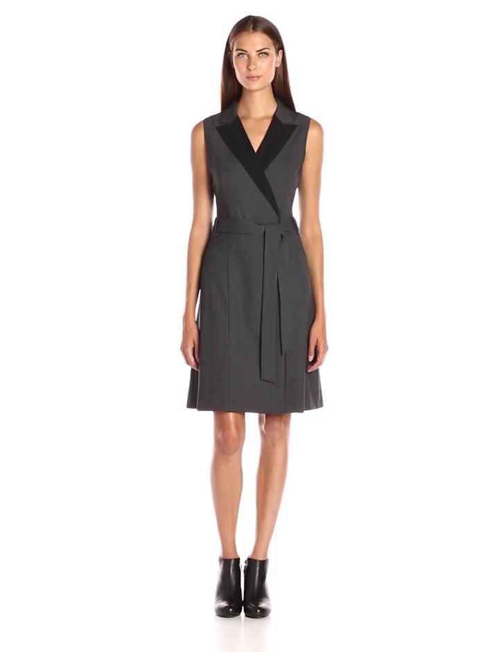 Calvin Klein Women\'s Color Block Wrap Dress, Charcoal/Black 16, 10 ...