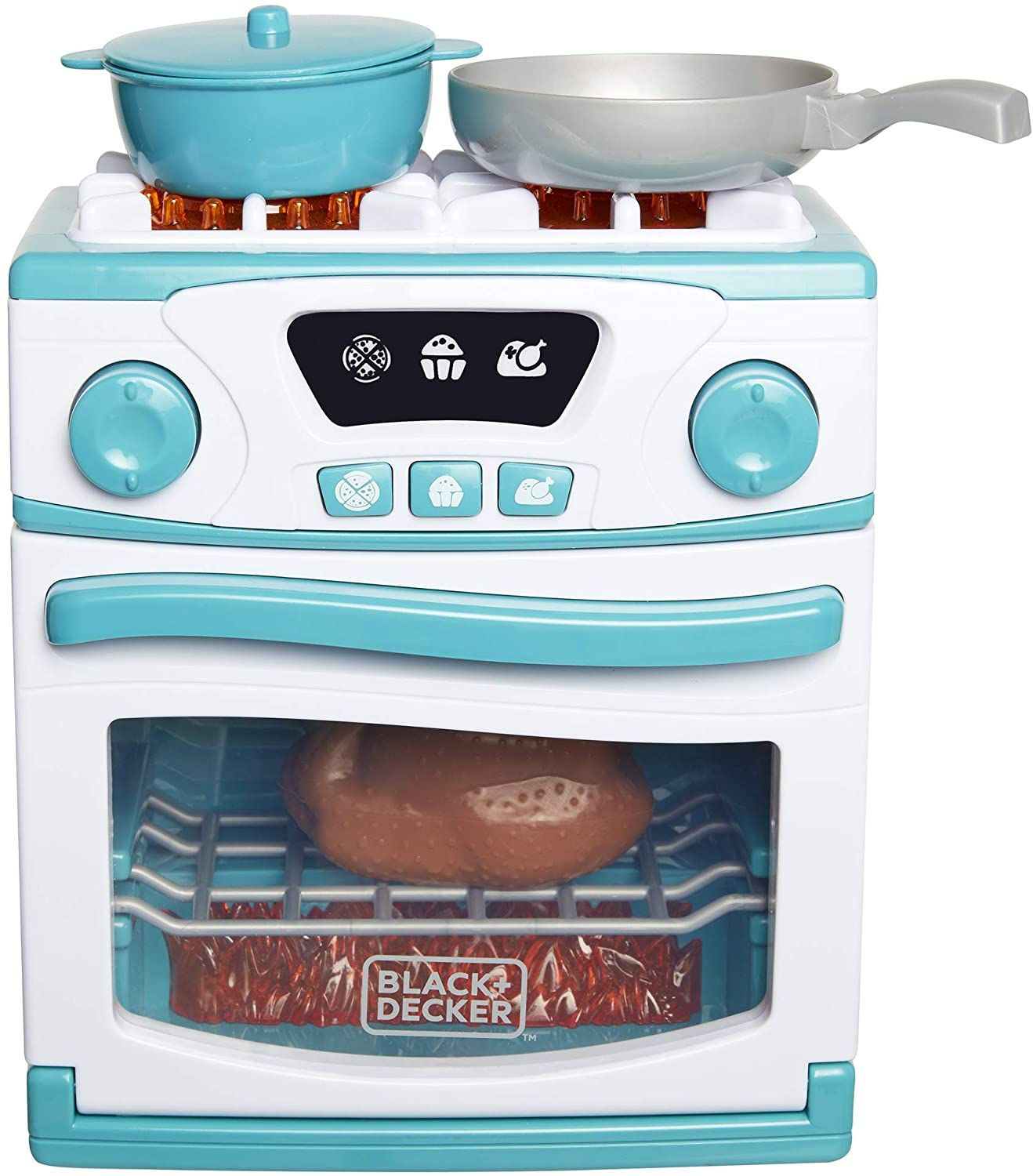 BLACK+DECKER Junior Oven and Stove Role Play Pretend Kitchen Appliance for Kids with Realistic Action, Lights and Sounds - Plus Pot with Lid, Cooking Pan, Play Chicken and Bacon/Egg Food