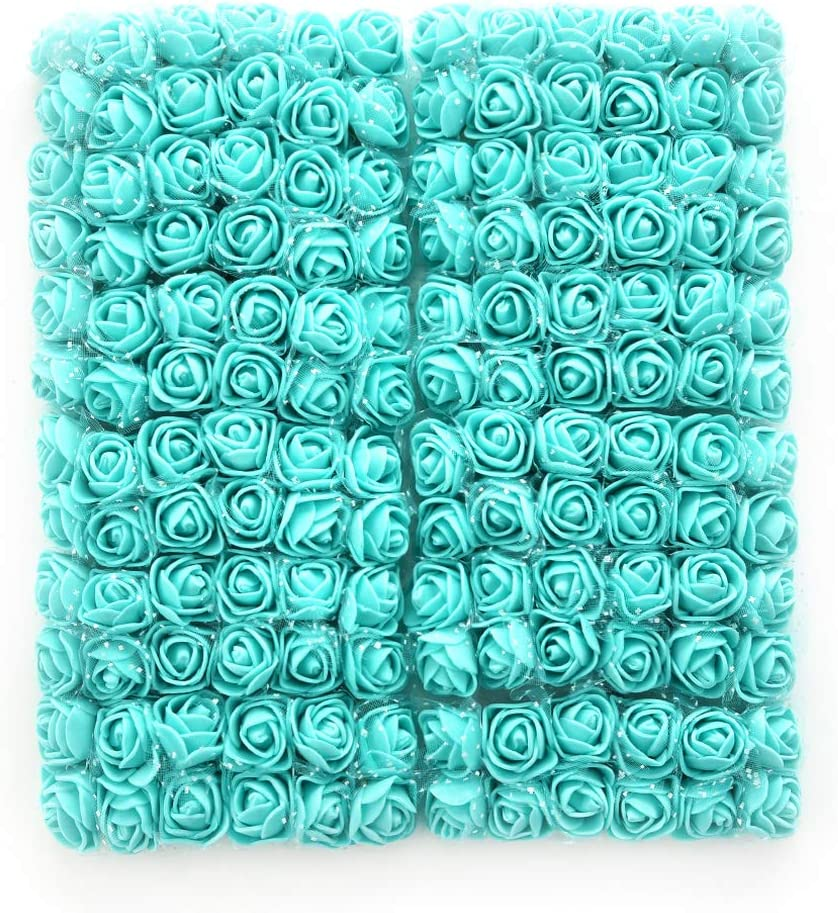 Roses Fake Flowers Heads Artificial Rose Flowers DIY 144 PCS Head Rose Flowers Wedding Bride Bouquet PE Foam DIY Party Festival Home Decor Rose Flowers (Tiffany)