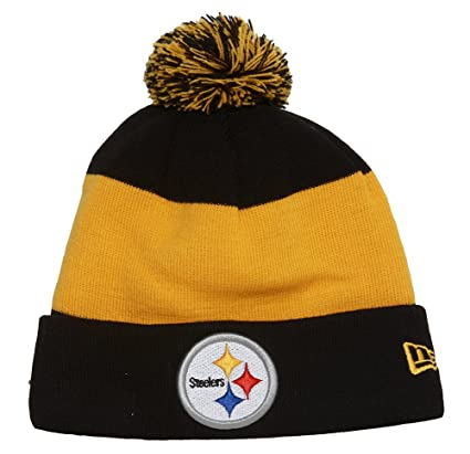 6301281ae3860 Image Unavailable. Image not available for. Color  New Era Pittsburgh  Steelers Onfield Classic Pom Knit Beanie ...