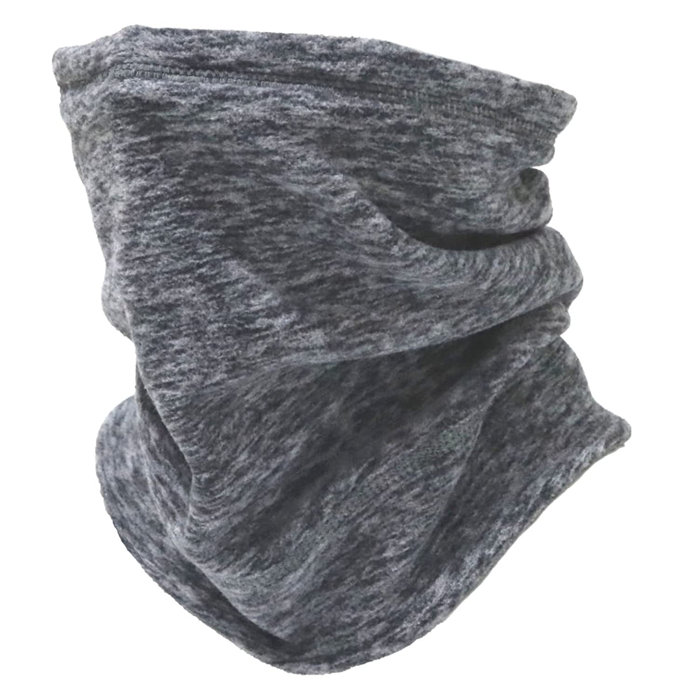 2 Way Fleece Neck Gaiter、Polar Fleece Neck WarmerフリーUVスキーフェイスマスク耳カバーとして使用できWatchキャップビーニー帽子タイプq-mbl  グレー B0789FLGJC