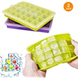 Ice Cube Trays with Lids, 2 Pack Silicone Flexible and Easy Release Ice Cube Trays 24 Ice Cube Molds for Whiskey, Cocktails - BPA Free, Stackable Durable, Dishwasher Safe…