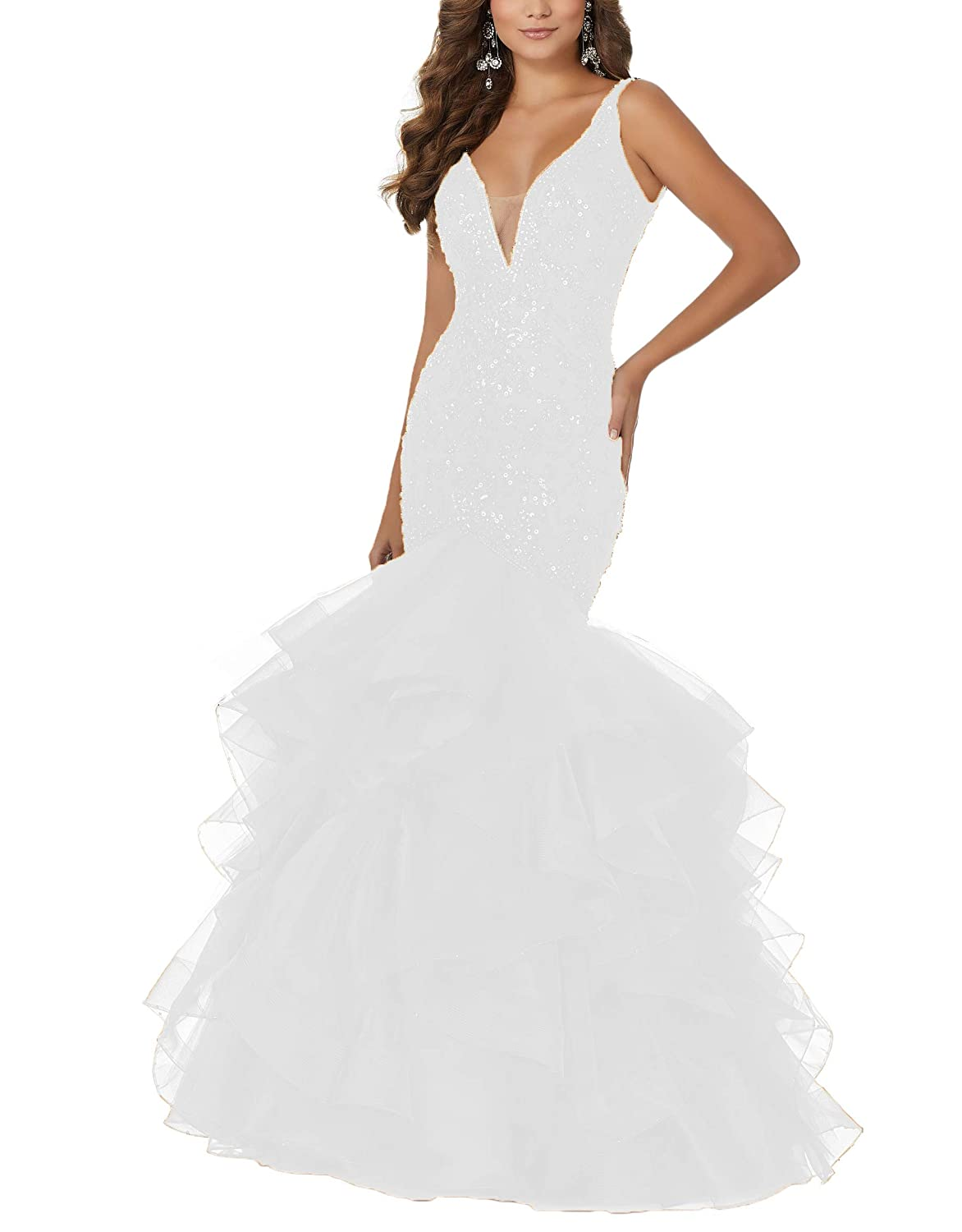 White Yisha Bello Womens Sequins VNeck Mermaid Prom Gowns Long Tulle Beaded Evening Formal Party Dress