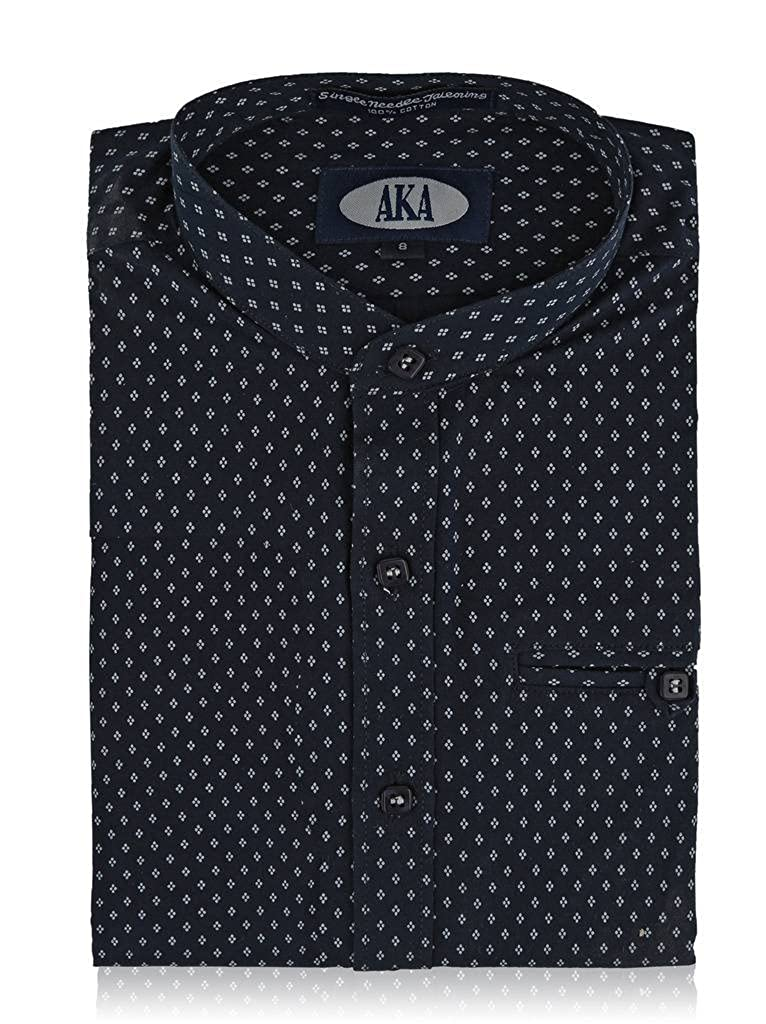 562cad1c SOLID WHITE DOBBY OR CHARMING WHITE ON NAVY PATTERN For a different and fun  twist on a boys dress shirt, try this one. Styled with a mandarin collar,  ...