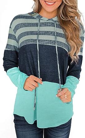 Women Hoodie Long Sleeve Sweatshirt Knitted Pullover Drawstring Hoodie Tops